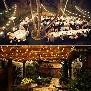 Amico 2 Pack 49FT Outdoor String Lights: 2200K Commercial Grade Weatherproof Yard Lights,11W Dimmable Incandescent Bulbs, UL Listed Heavy-Duty String Lights (Color: 2700K, Tamaño: 2Pack)