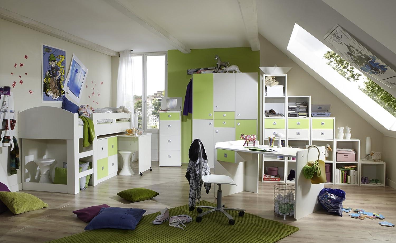 Jugendzimmer mit Bett 90 x 200 cm alpinweiss/ apfelgrün online bestellen