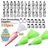 FantasyDay 112-Piece Cake Decorating Supplies Cupcake Decoration Baking Tools with 48 Piping Nozzles Icing Tips, 50 Disposable Piping Bags, 2 Reusable Pastry Bags, 10 Coupler and 2 Bags Ties (Color: #4)