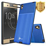 Xperia XA1 Ultra Case with [Full Cover Tempered Glass Screen Protector], NageBee [Brushed] Heavy Duty Defender Dual Layer Protector Case For Sony Xperia XA1 Ultra (Blue)