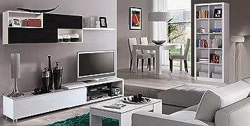 Habitdesign 0T6666BO- Mueble de comedor, acabado color blanco brillo y negro malla, medidas 240 x 41 cm de fondo