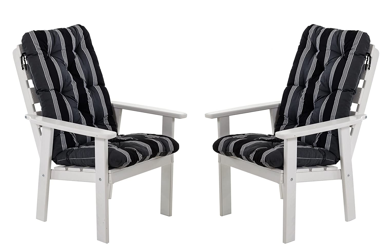 Ambientehome 90328 Gartensessel Gartenstuhl Loungesessel 2-er Set Massivholz Hanko Maxi, weiß mit Kissen, schwarz / grau günstig
