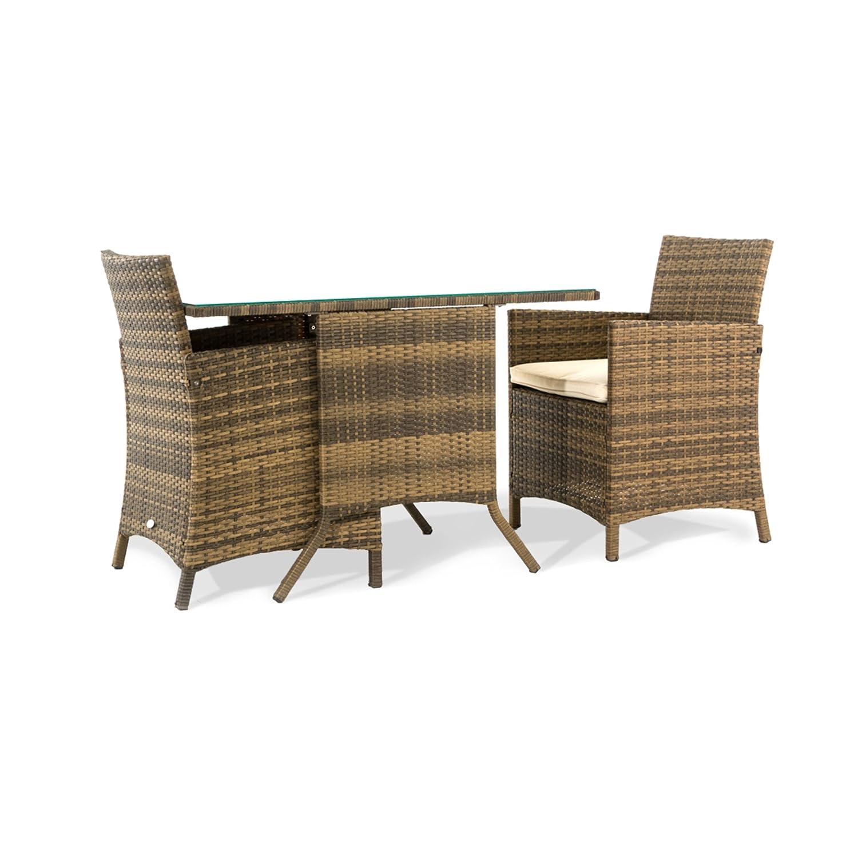 Gartenmöbelset 3-tlg., Rattan, inkl. Polster, Tisch ca. L114xB64xH75 cm, Stuhl ca. B60 xT58xH87 cm jetzt bestellen