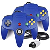 2 Pack N64 Controller, iNNEXT Classic Wired N64 64-bit Gamepad Joystick for Ultra 64 Video Game Console (Color: Blue)