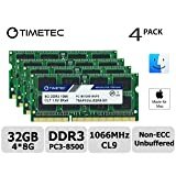 Timetec Hynix IC 32GB KIT(4x8GB) Compatible for Apple Late 2009 iMac 27inch DDR3 PC3-8500 1067MHz/1066MHz CL7 204 Pin 1.5V Dual Rank 2R8 Memory Module RAM Upgrade for iMac 11,1 (32GB KIT(4x8GB)) (Tamaño: 32GB KIT(4x8GB))