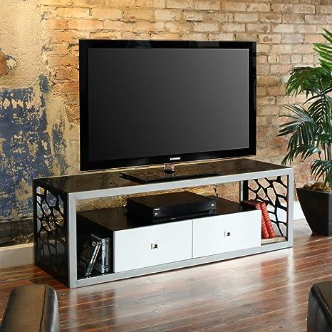 WE Furniture Black Glass Modern Mosaic TV Stand, 60-Inch
