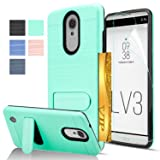 LG Aristo Case, LG Phoenix 3 / Fortune / K8 2017 / MS210 / M210 / Risio 2 / Rebel 2 LTE Case with HD Screen Protector,AnoKe [Card Slots Holder][Wallet] Kickstand Hybrid Case for LG LV3 KC1 Mint (Color: KC1 Mint)