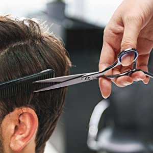 Hair Cutting Scissors Shears Professional Barber ULG 6.5 inch Hairdressing Regular Scissor Salon Razor Edge Hair Cutting Shear Japanese Stainless Steel with Detachable Finger Inserts (Color: Silver, Tamaño: Cutting)