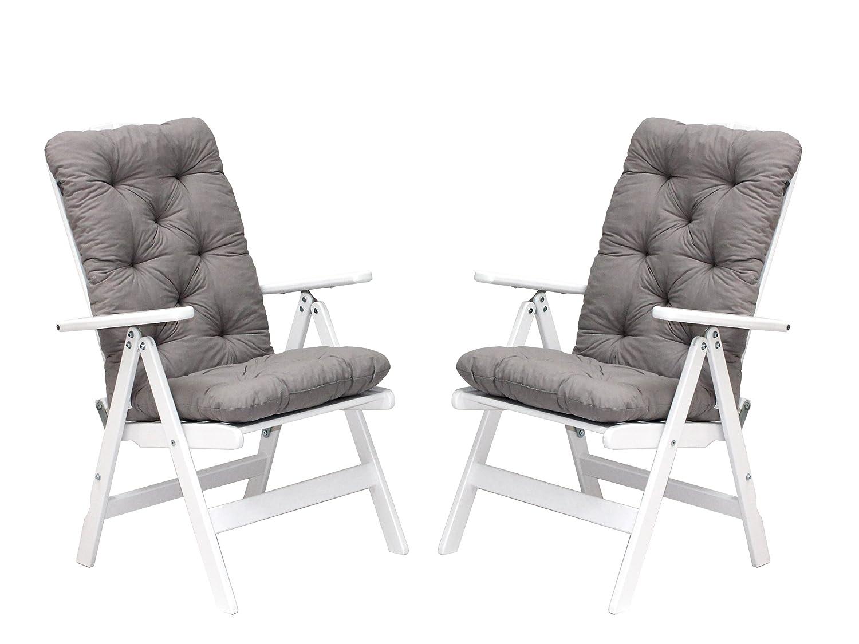 Trendy-Home24 Klappstuhl 4tlg. Set STRANDA Holzstuhl weiß 7fach verstellbar Gartenstuhl mit Hochlehner Auflagen Kissen Polster grau günstig bestellen