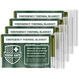 Swiss Safe Emergency Mylar Thermal Blankets (4-Pack) + Bonus Signature Gold Foil Space Blanket: Designed for NASA, Outdoors, Hiking, Survival, Marathons or First Aid (Color: Army Green)