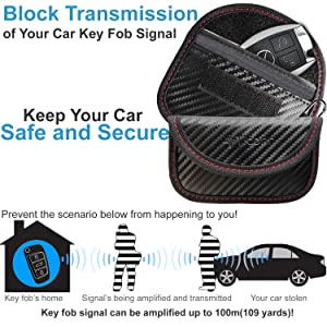 Faraday Bag for Key Fob Car RFID Signal Blocking Carbon Fiber//PU Anti-Hacking Case Blocker Anti-Theft Pouch 2 Pack TICONN Faraday Cage Protector