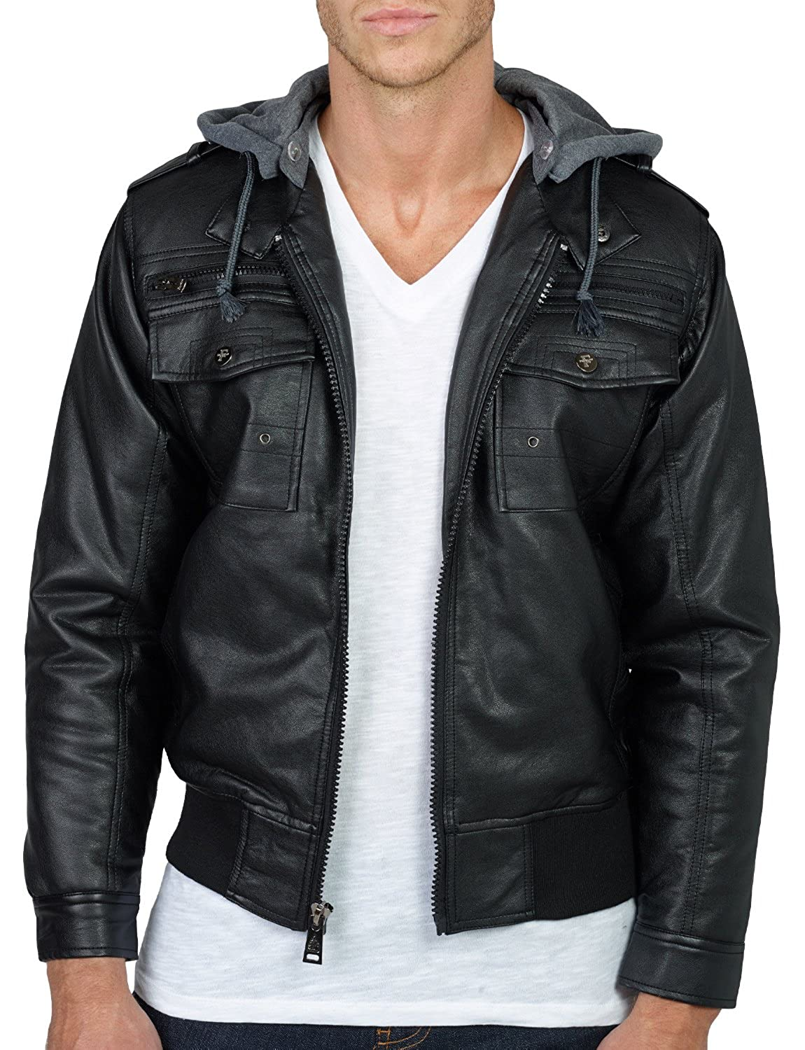 Wantdo Men's Fashion Faux Jackets Pu Leather Jackets With Removable Hood With Gift OLLIN Mens Faux Leather Zip