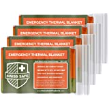 Emergency Mylar Thermal Blankets (4-Pack) + Bonus Signature Gold Foil Space Blanket: Designed for NASA, Outdoors, Hiking, Survival, Marathons or First Aid (Double Color Sides: Orange & Army Green) (Color: Double Color Sides: Orange & Army Green)