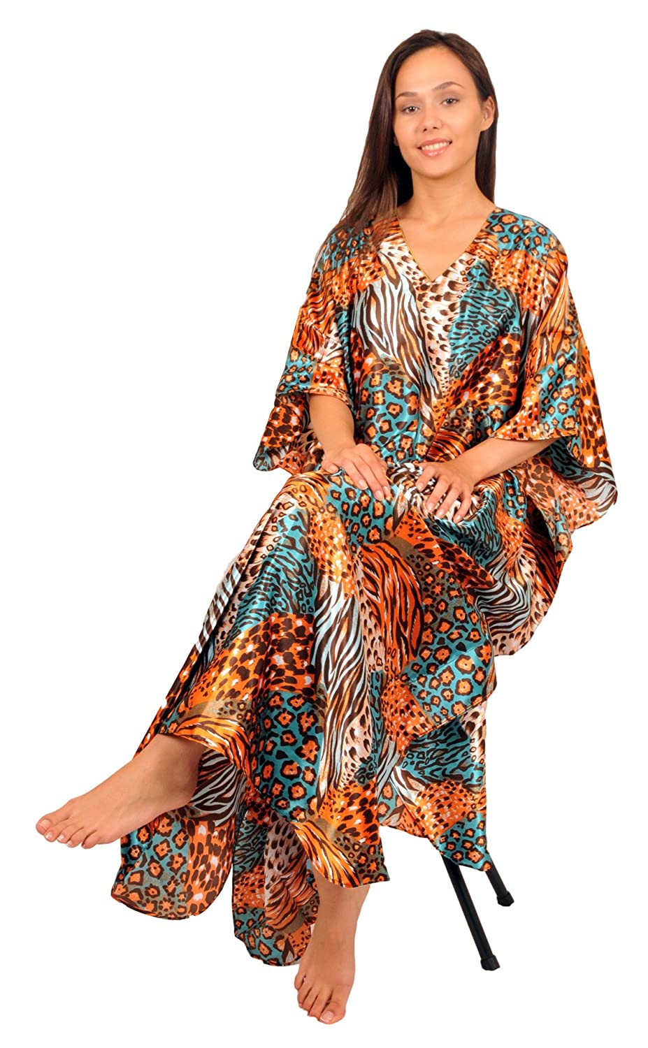 Satin Caftan/Kaftan, Tropical Cocktail Animal Print, One Size, Style Caf-30