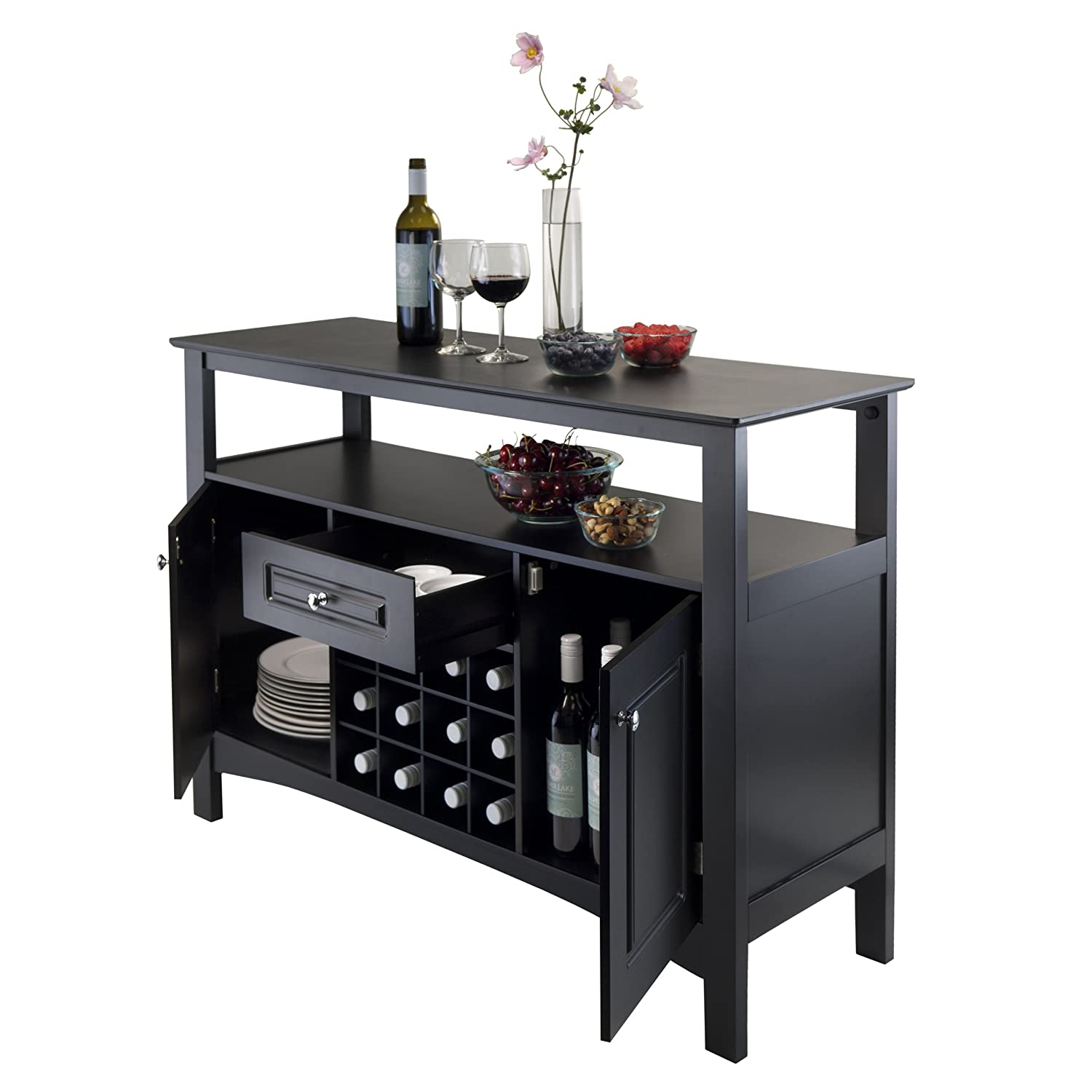 Wine bottle holder stand home mini bar liquor storage table wooden rack cabinet ebay Wine racks for small spaces pict