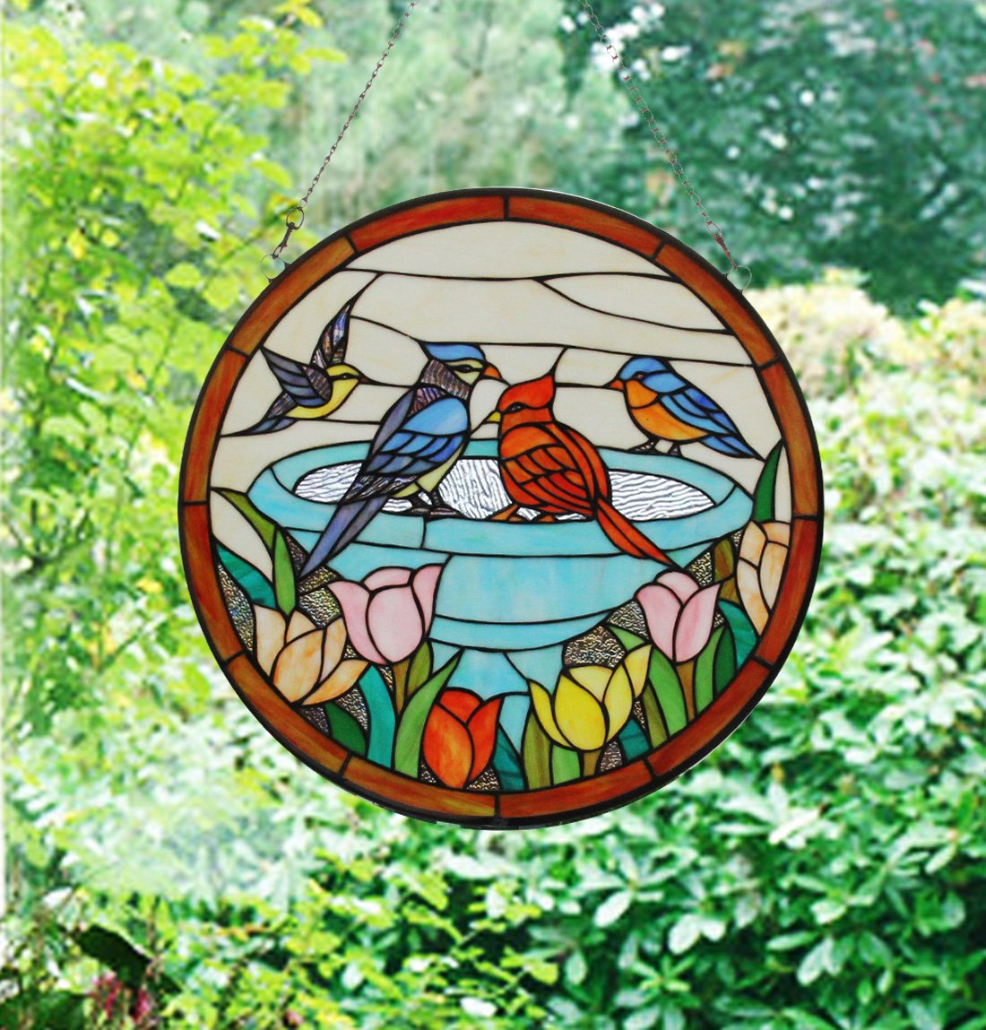 Makenier Vintage Tiffany Style Stained Church Art Glass Parrot and Tulip Round Window Panel Wall Hanging 1