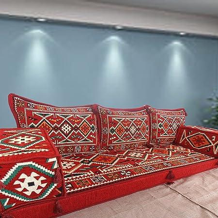Hecho a mano suelo sofá Set Majlis, árabe, Árabe Jalsa, suelo asiento sofá, cojines, Oriental, sala de estar decoración, Kilim de suelo asiento, pipa de barra muebles sofá conjunto