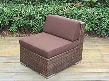 Popular  Genuine Ohana Outdoor Patio Sofa Sectional Wicker Furniture Mixed Brown pc Couch Set Brown htjobju