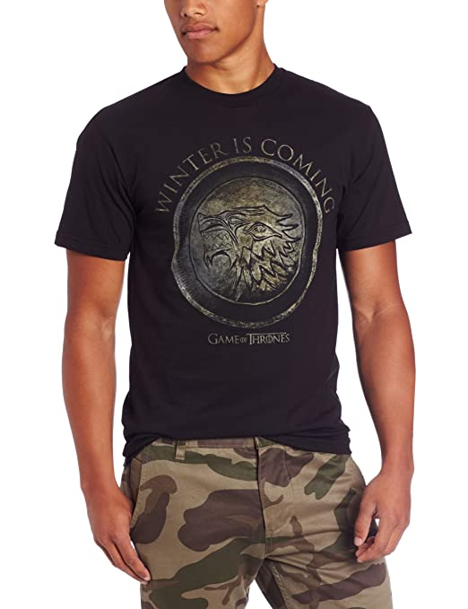 HBO'S Game of Thrones Men's Winter Is Coming Circle, Black, Large