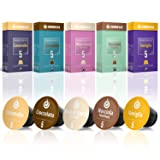 50 Nespresso Compatible Coffee Capsules, 100% Fair Trade | Gourmesso Flavor Bundle | Includes Vanilla Caramel Chocolate Hazelnut Coconut Flavored Espresso Capsule Variety Pack