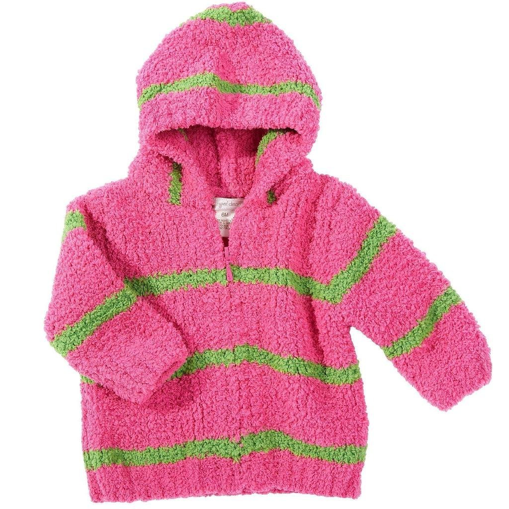 Angel Dear Fleece Zip Hoodie - Fuschia/Green Stripe 4t
