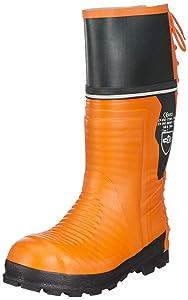 SchnittschutzGummistiefel, Schnittschutzklasse 2 (=24m/s), CE 0321, EN ISO 20345, Farbe orange, verschiedene Größen  Schuhe & HandtaschenKundenbewertung und weitere Informationen