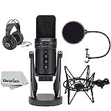 Samson G-Track Pro Professional USB Condenser Microphone with Headphones + Samson Shockmount & Pop Filter + Clean Cloth