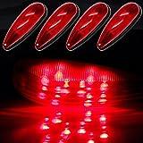CCIYU 4 Pack Red Tear Drop LED Marker Light 20-leds 12-24V Cars Trucks Pickup Trailer