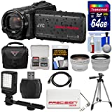 JVC Everio GZ-R550 Quad Proof Full HD 32GB Digital Video Camera Camcorder with 64GB Card + Case + Power Bank + Tripod + LED Light + Tele/Wide Lens Kit (Color: Black)