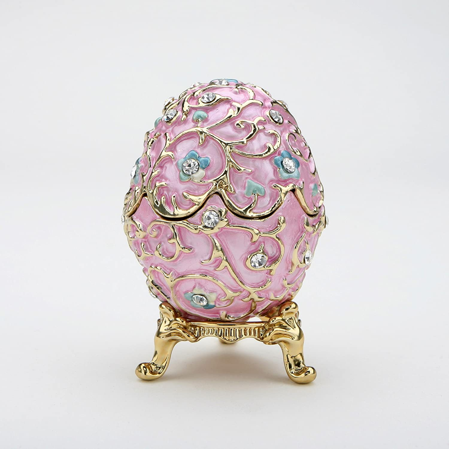 Swarovski Crystals Flowered Pink Faberge Style Egg Box Ring Jewelry