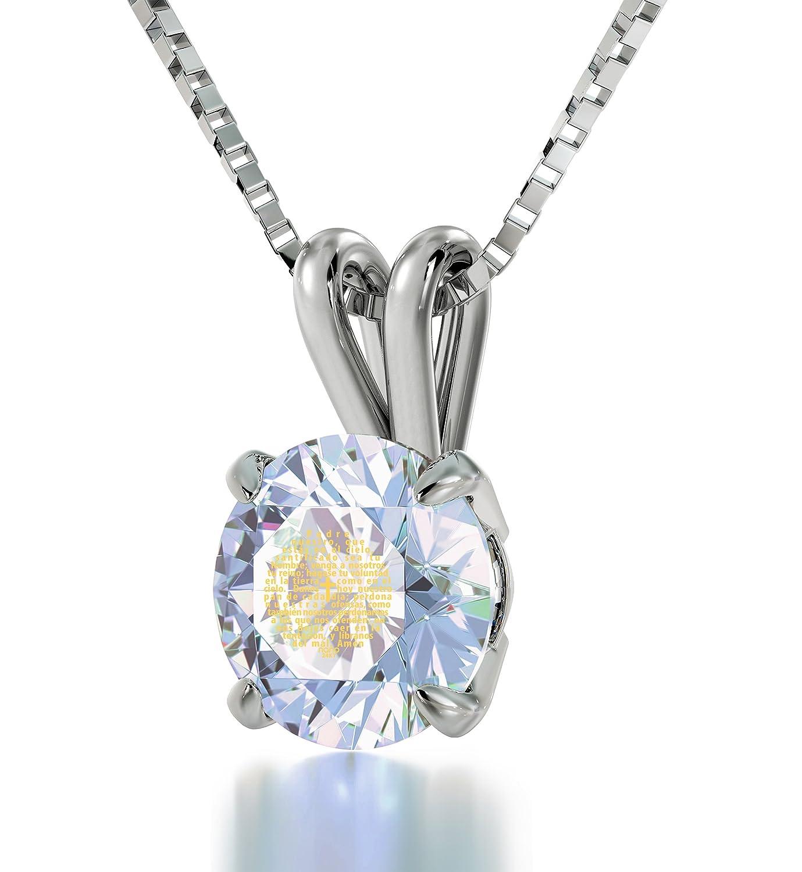 Damen-Halskette mit Anhänger Silber 24 kt Gold-Gravur Opal Zirkonia Kreuz-Design Padre Nuestro Bibelvers günstig