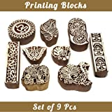 Asian Hobby Crafts Baren Handcarved Wooden Blocks for Stamping, Block Printing on Textiles, Pottery Crafts,Henna, Scrapbooking, Wall Painting: Set of 9pcs (Design B) (Color: Design B)