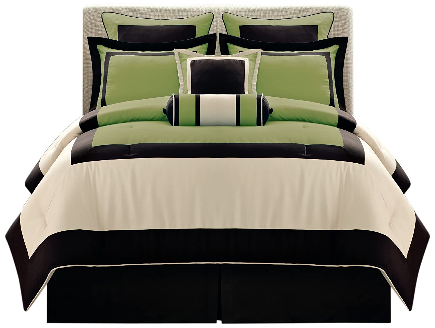 Green bedding and bedroom decor ideas Green and black bedroom