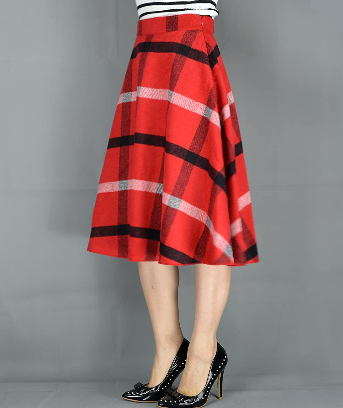 YSJ Women's Wool Midi Skirt A-Line Pleated Vintage Plaid Winter Swing Skirts 4