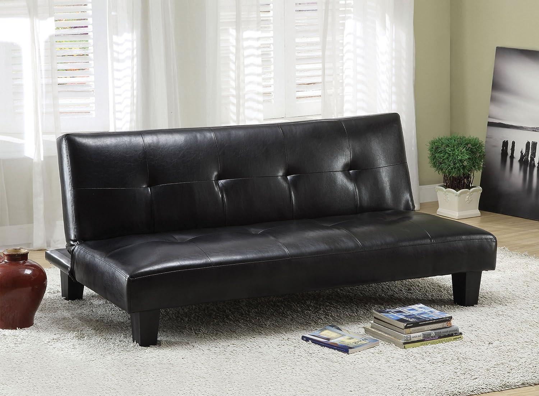 Furniture of America Persei Leatherette Futon Sofa - Black Finish