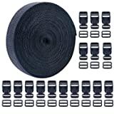 Livder 1 Inch 16 Yards Polypropylene Webbing Strap Band with 16 Set 1inch Side Release Plastic Buckles, Black (Color: black, Tamaño: 1 inch)