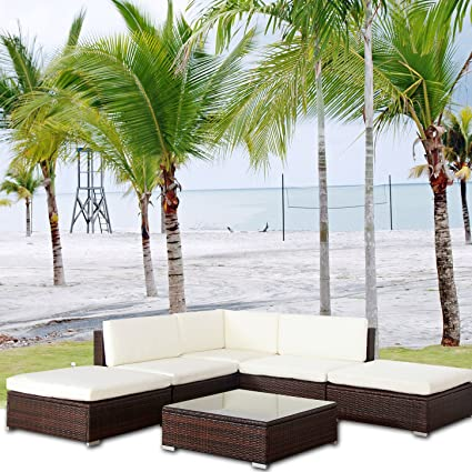 MALIBU POLY RATTAN Lounge Braun Aluminium Sofa Garnitur Polyrattan Gartenmöbel