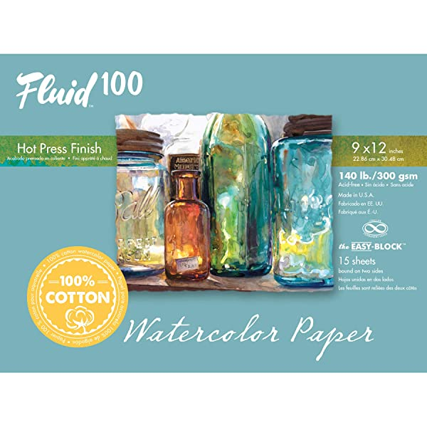 Speedball Art Products 812218 Fluid 100 Artist Watercolor Paper 140 lb Hot Press, 9 x 12 Block, 100% Cotton Natural White (Color: 100% Cotton Natural White, Tamaño: 9 x 12 BLOCK)