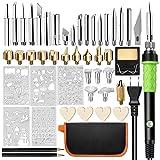 Wood Burning Kit,46PCS Professional Pyrography Pen Set 60W/110V Adjustable Temperature Craving Tools Wood Burner Soldering Iron Tool Set with 5PCS Stencils+32 Different Tips,2 Pencils (Green) (Color: Green)