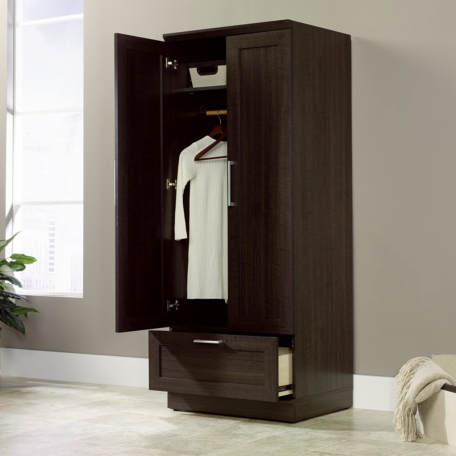 Marvelous photograph of Free Standing Wooden Wardrobe Closets GiftWorm.com with #271A14 color and 1500x1500 pixels