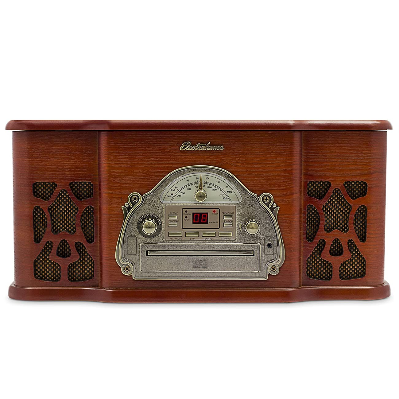 Electrohome EANOS501 Winston Vinyl Turntable 3-in-1 Wooden Stereo System 1