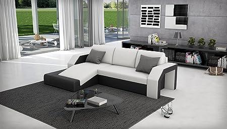 SAM® Ecksofa Milagro 145 x 281 cm in weiß schwarz in einem futuristischen Design verfugt uber Strauraum pflegeleichte Oberfläche Lieferung mit einer Spedition zerlegt
