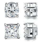 Jstyle 2 Pairs Stainless Steel Magnetic Stud Earrings for Men Women Non-piercing CZ 5mm