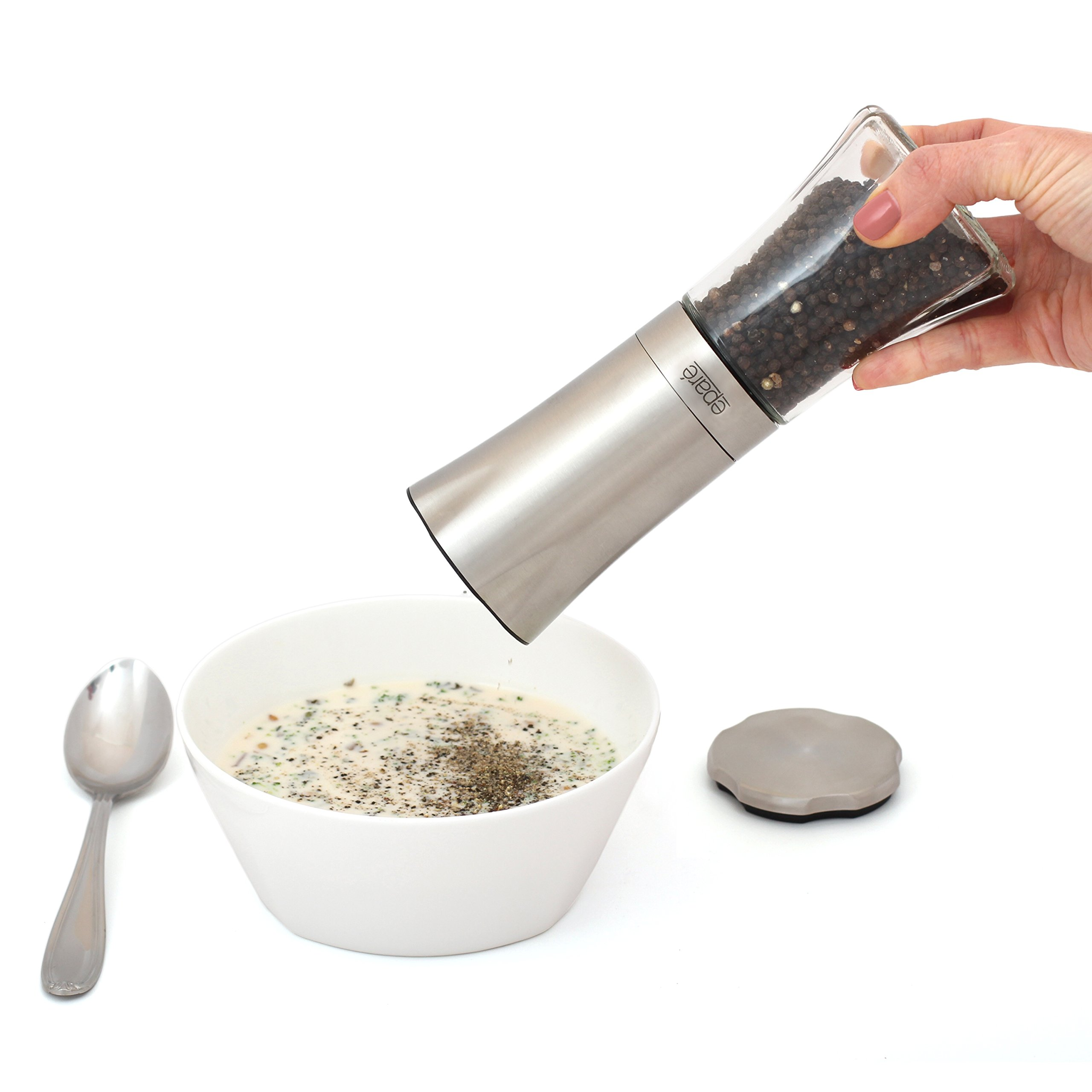 Eparé Battery Operated Gravity Steel Salt or Pepper Mill and Grinder image