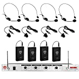 Nady 401X QUAD Wireless 4-Channel Headset + Lapel / Lavalier Microphone System – 8 Microphone Bundle (HM-3 + LM-14)