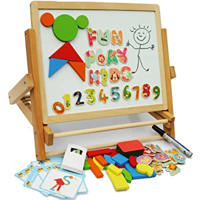 Wooden Easel - Foldable Table Top Easel Double Sided Magnetic Boards with magnetic shapes, magnetic alphabet, magnetic numbers- PROMOTION OFFER