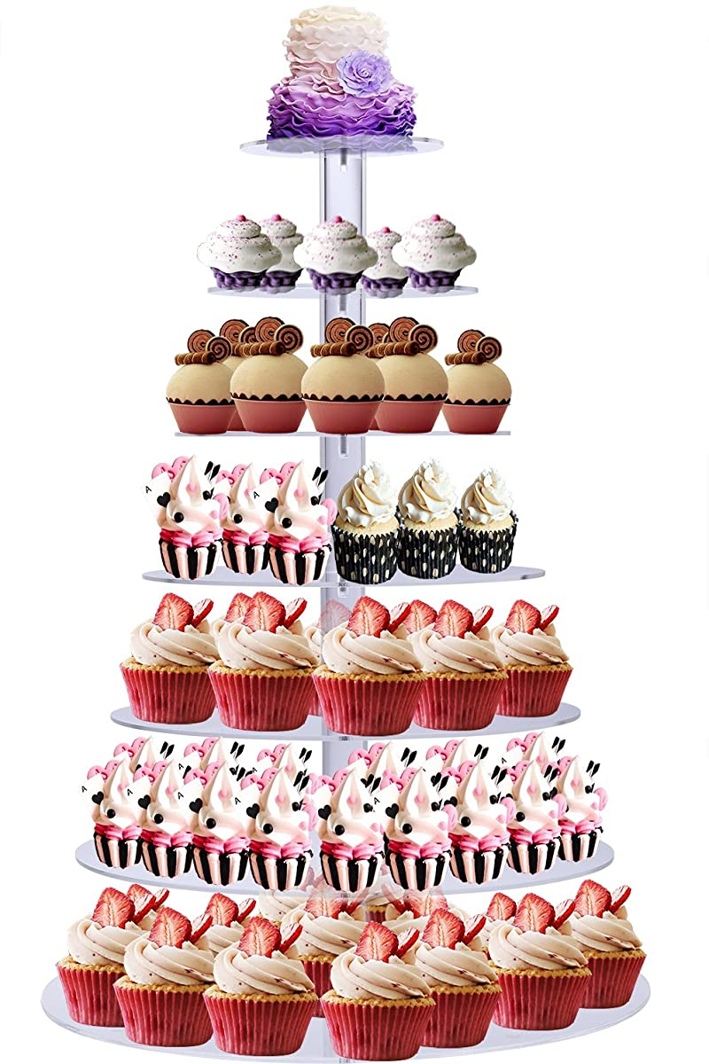 BonNoces Acrylic 7-Tier Round Stacked Party Cupcake Stand with Bottom Tier 5mm Thick-Tiered Cupcake Stand / Cupcake Tower-Cake Stand