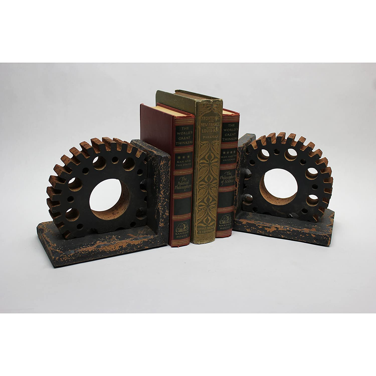 Wooden Gear Bookends