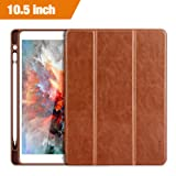 Benuo iPad Pro 10.5 Case 2017 with Apple Pencil Holder, [Vintage Series] Folio Flip Leather Cover Auto Sleep/Wake Function for iPad Pro 10.5 Inch 2017 Released Table (Brown) (Color: Brown, Tamaño: 10.5 Brown)