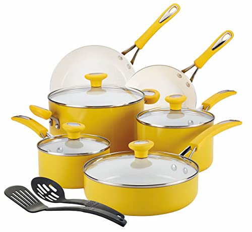 SilverStone Ceramic CXi Nonstick 12-Piece Cookware Set, Mango Yellow